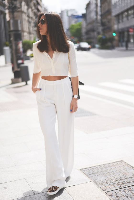 white crop top and wide pants