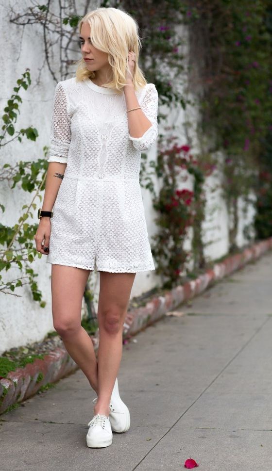 white laced jumpsuit