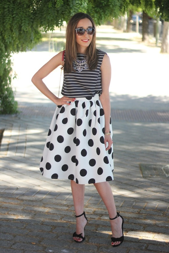 black and white midi skirt