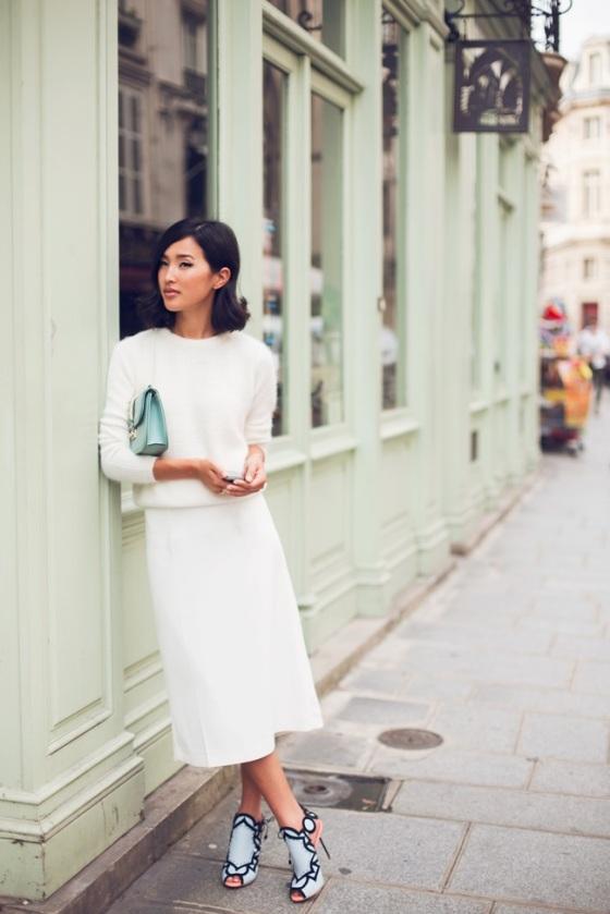 white skirt look