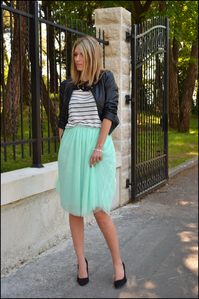 tutu skirt and stripes shirt
