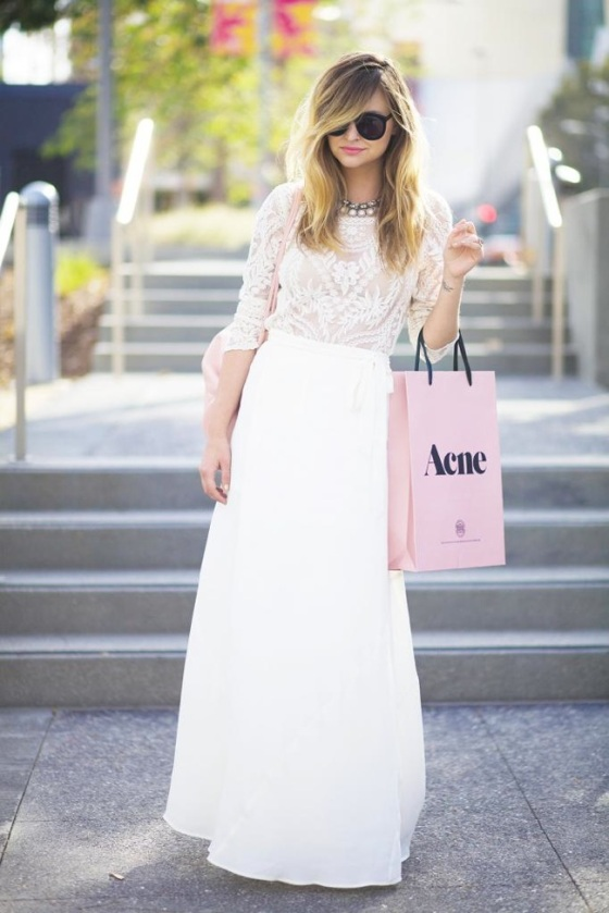 white maxi skirt and laced top