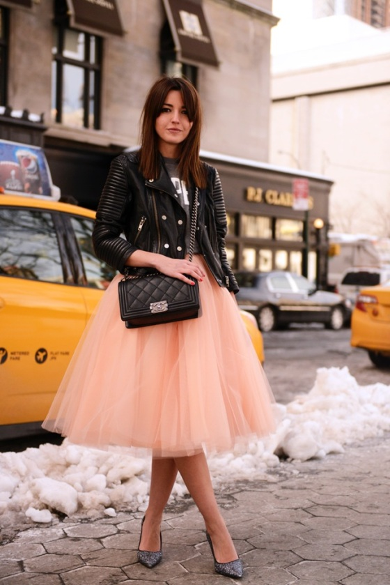 tutu skirt with leather jacket