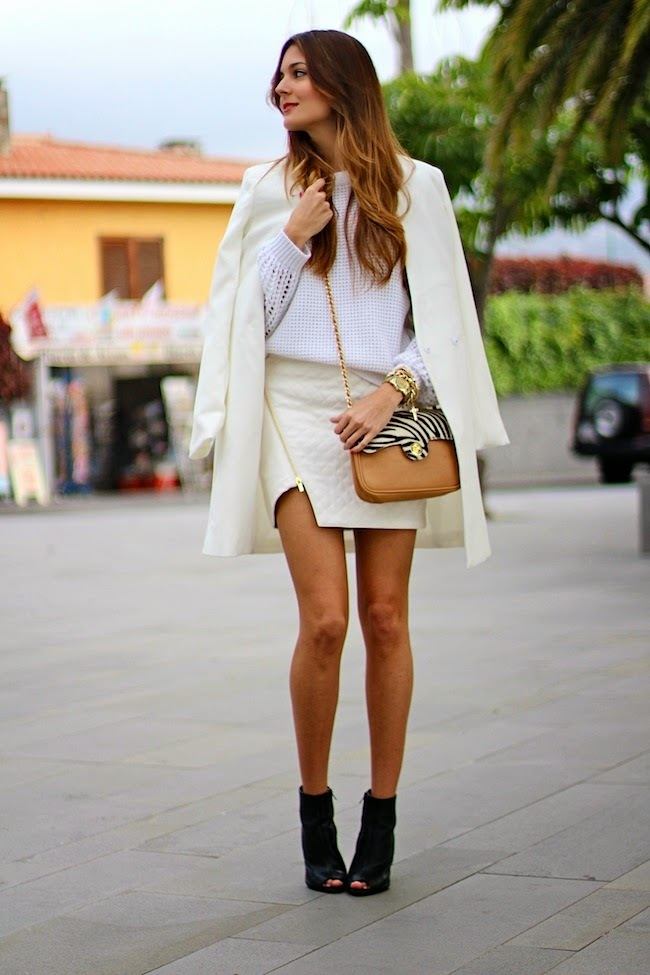 white mini skirt look