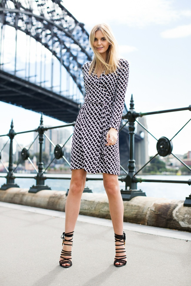 DVF black and white dress