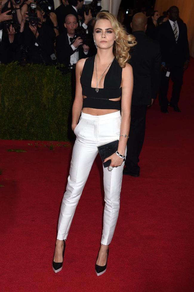 Black crop top white pants