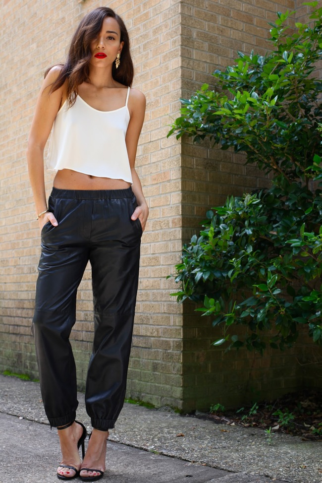 leather black pant - white crop top