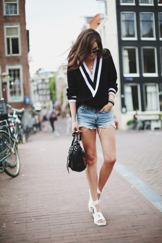 denim short and sweater look