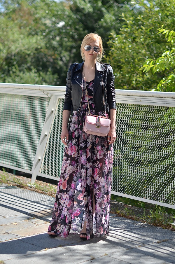 Maxi dress and leather jacket