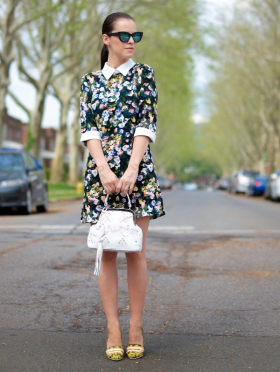 Dark floral dress look