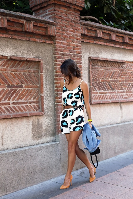 printed short jumpsuit