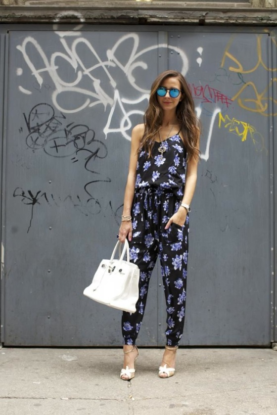 printed jumpsuit look