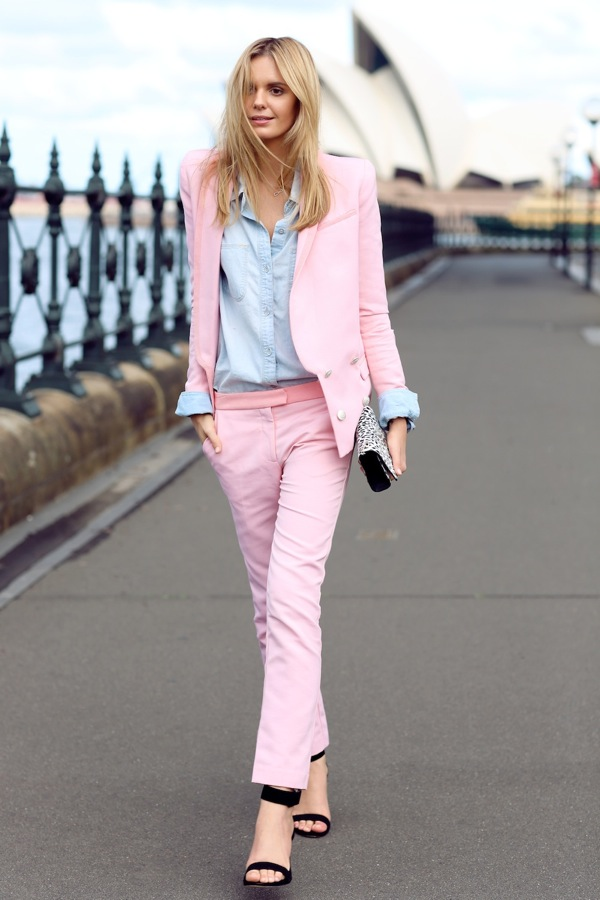 Pinks suit and denim shirt