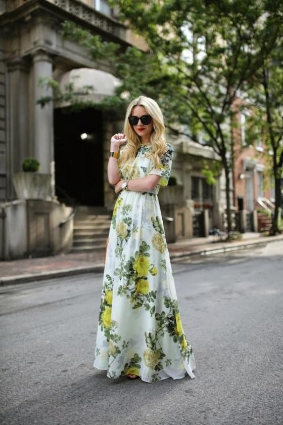 Vestido floral largo