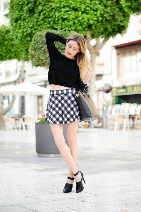 vichy print skirt look