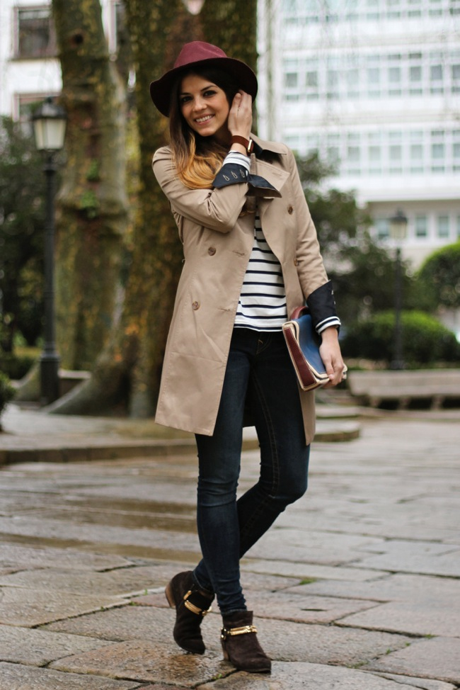 Trench coat and stripes look