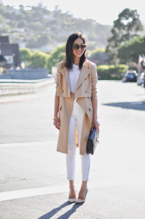 total white look and trench