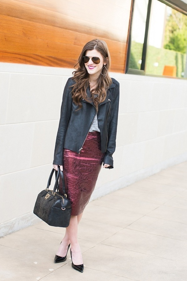 Metalpencil skirt