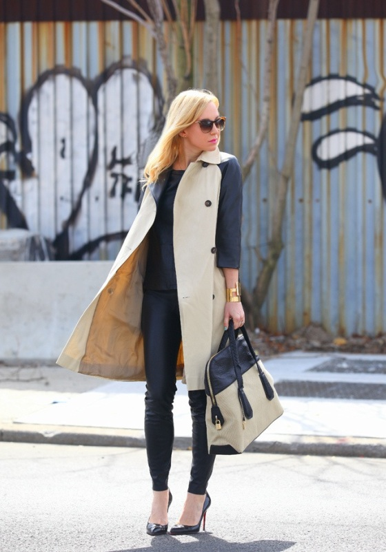 Total black look and trench