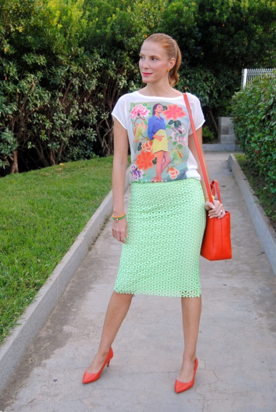 Colorful t-shirt and pencil skirt shirt