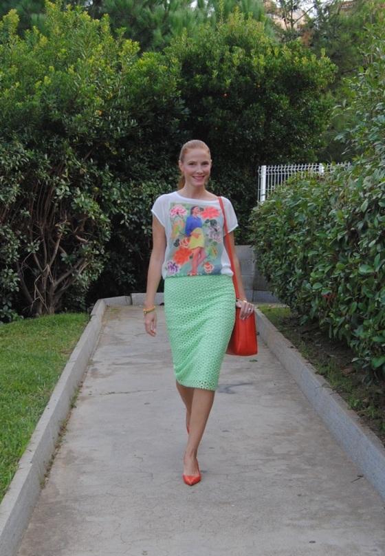 Colorful t-shirt and pencil skirt shirt