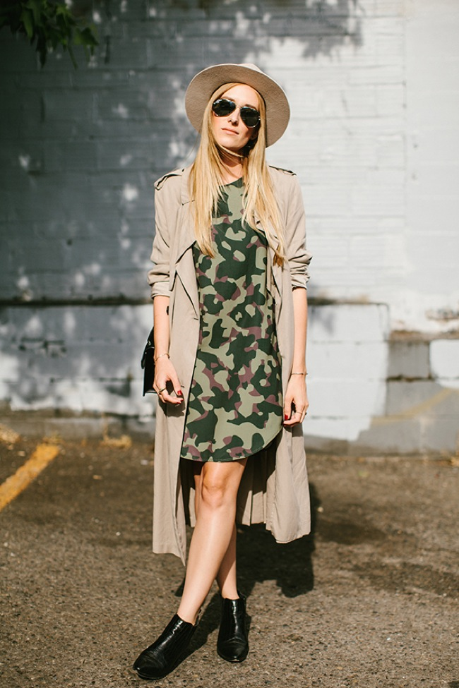 Trench coat and dress look