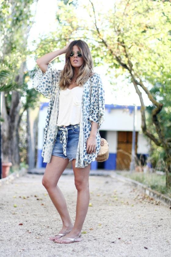 Kimono + denim short