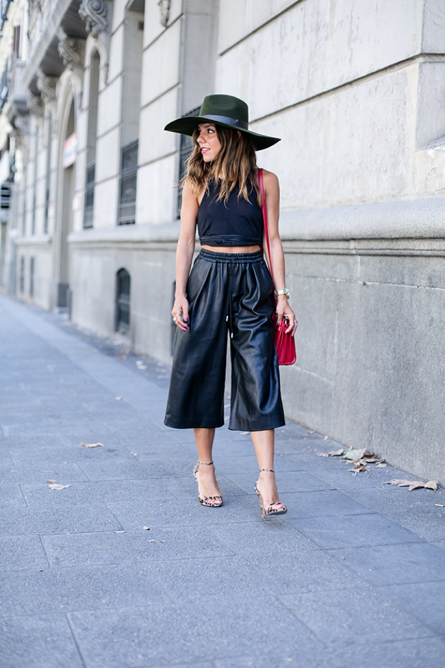 Wide leather pants