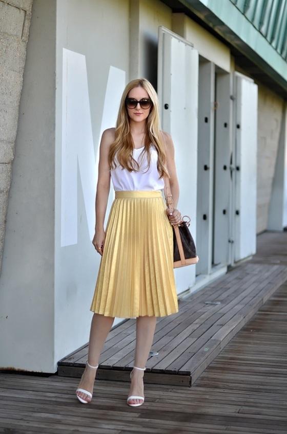 Pleated Metallic skirt