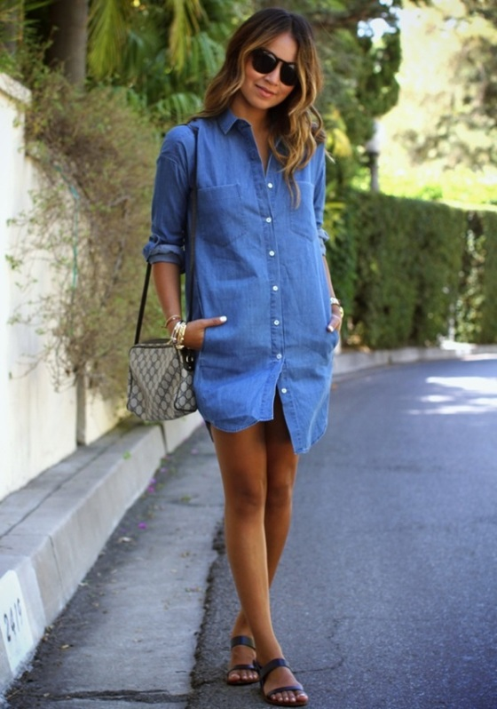 Denim dress shirt look