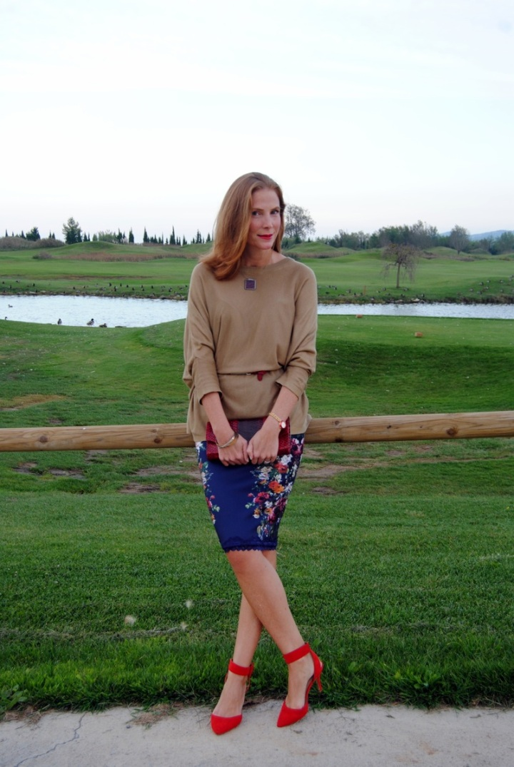 Floral pencil skirt and light Poncho