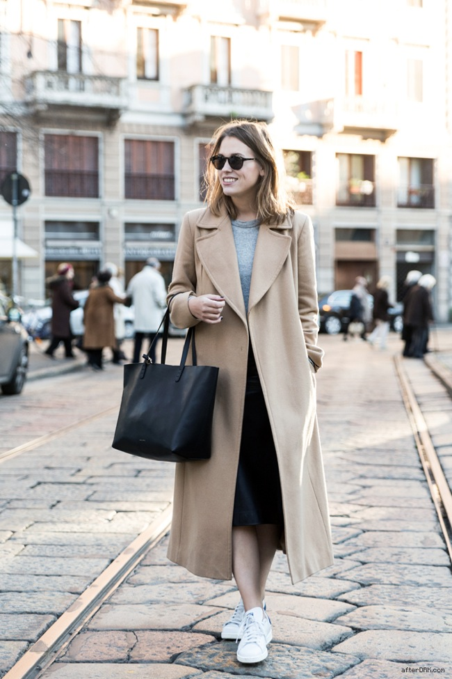 Camel coat and Adidas sneakers
