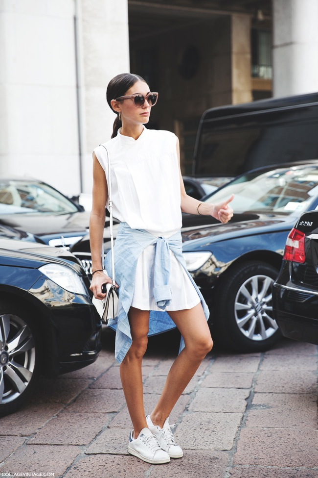 Adidas white sneakers look with dress