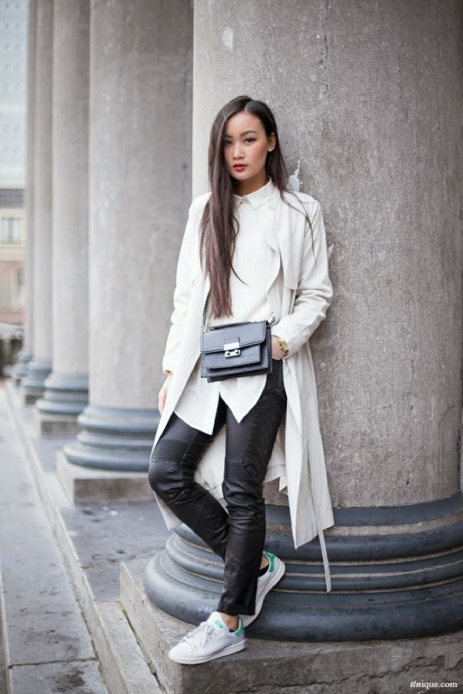 Casual white sneakers look
