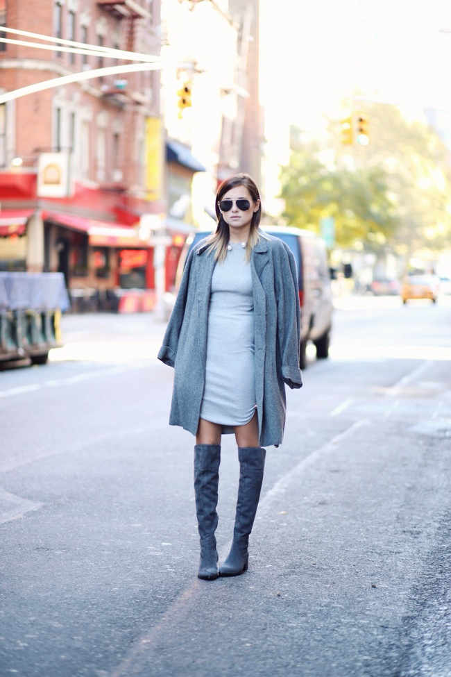 Grey dress and OTK boots