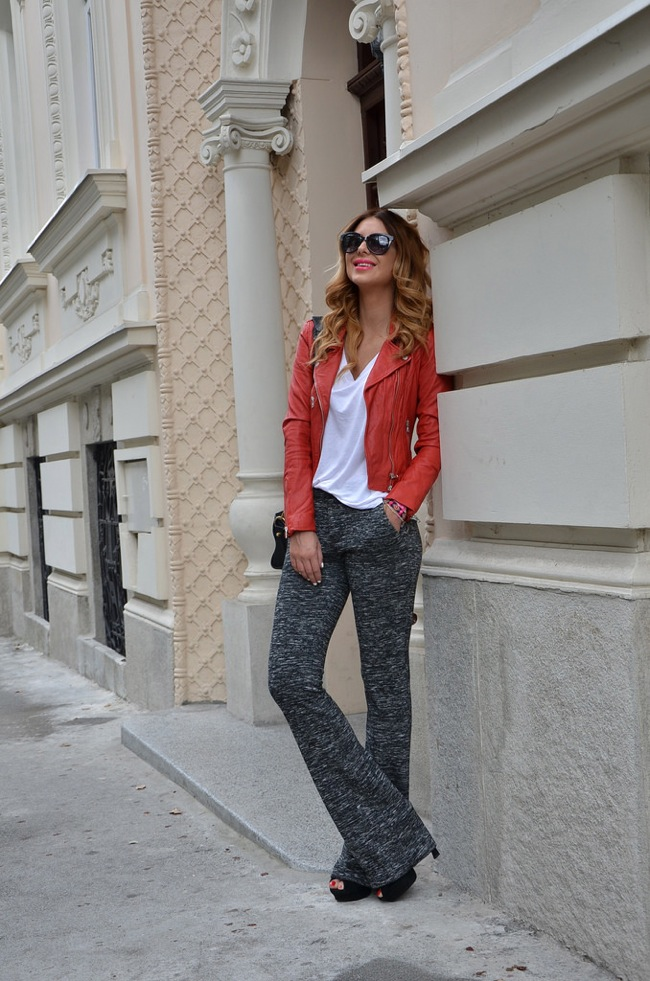 Knitted pant and white shirt