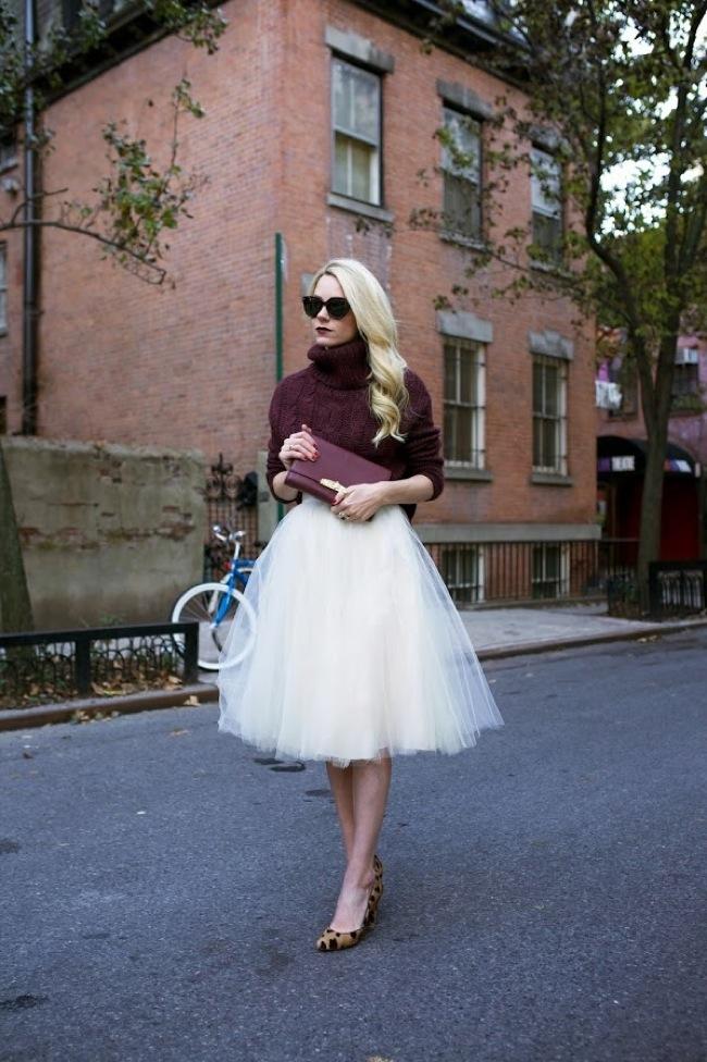Knitter sweater and tutu skirt