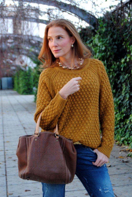Carolina Herrera bag and mustard Sweater