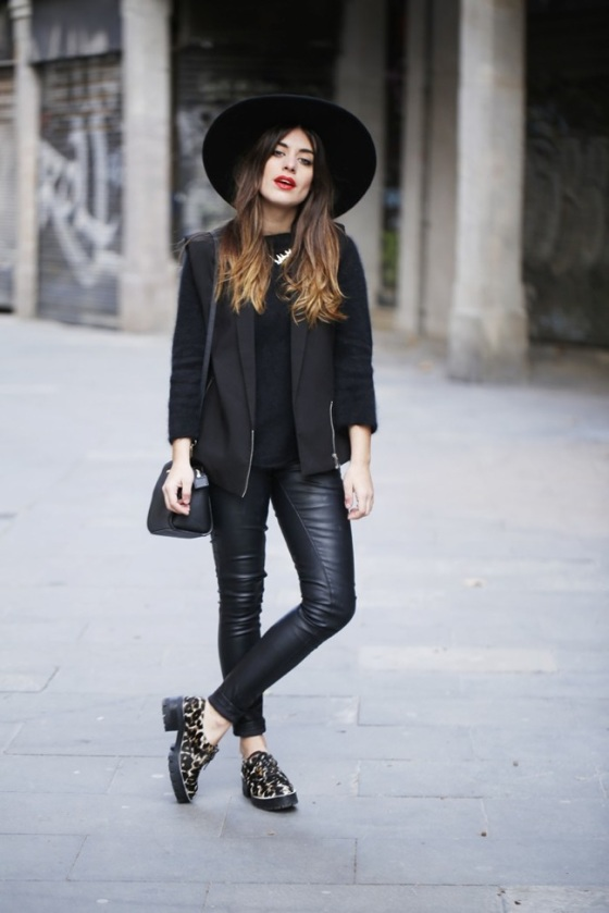 Black leather pants look