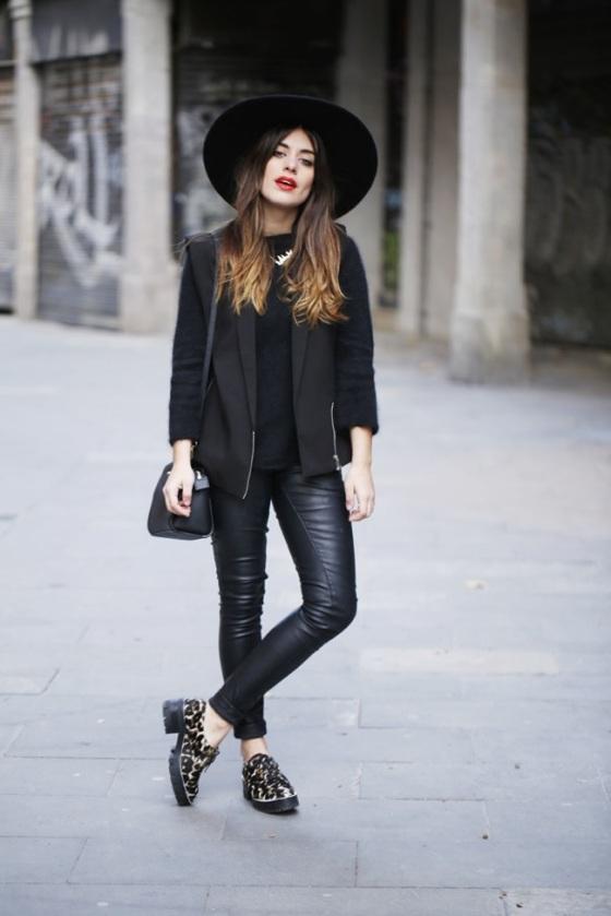 Black leather pants look