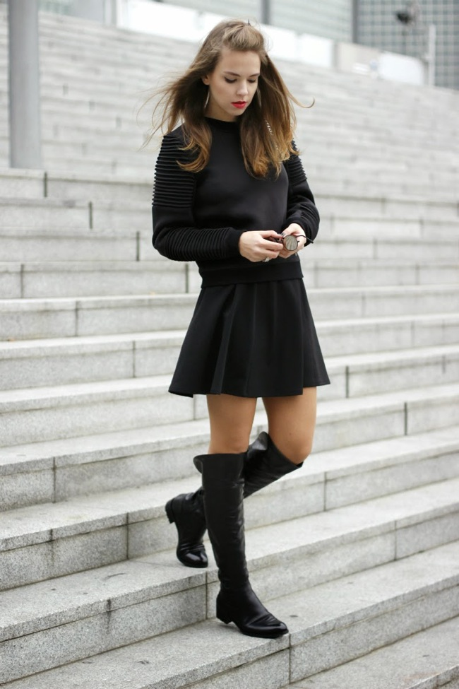 Black skirt and sweater look