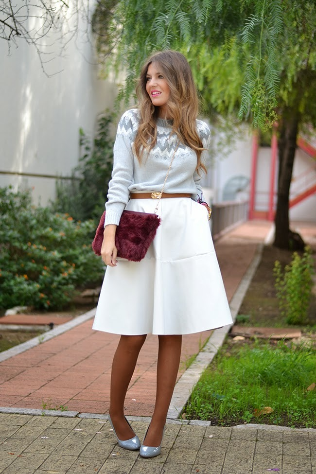 Winter white and gray look