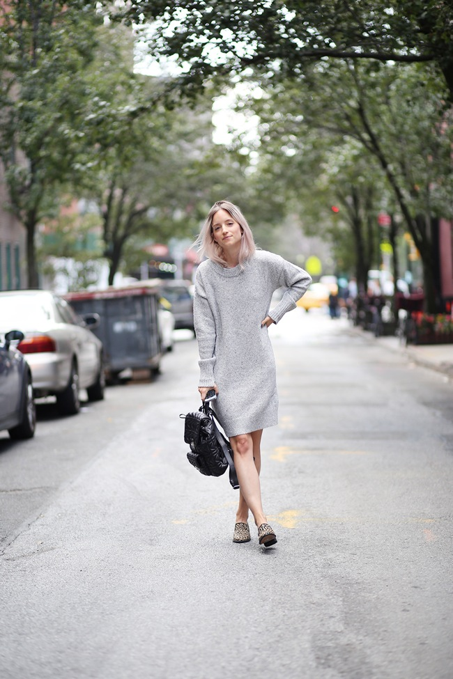 Look with knitted dress