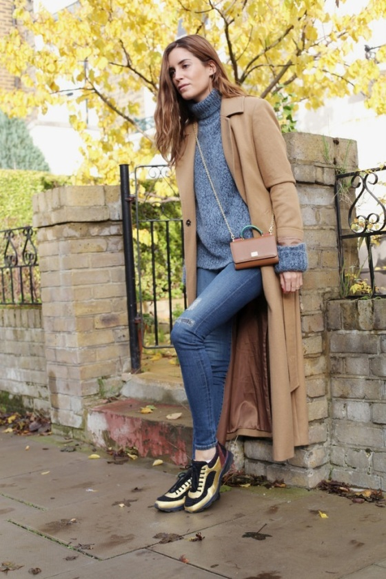 Camel coat and jean look