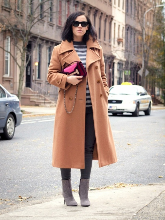 Stripes and camel coat