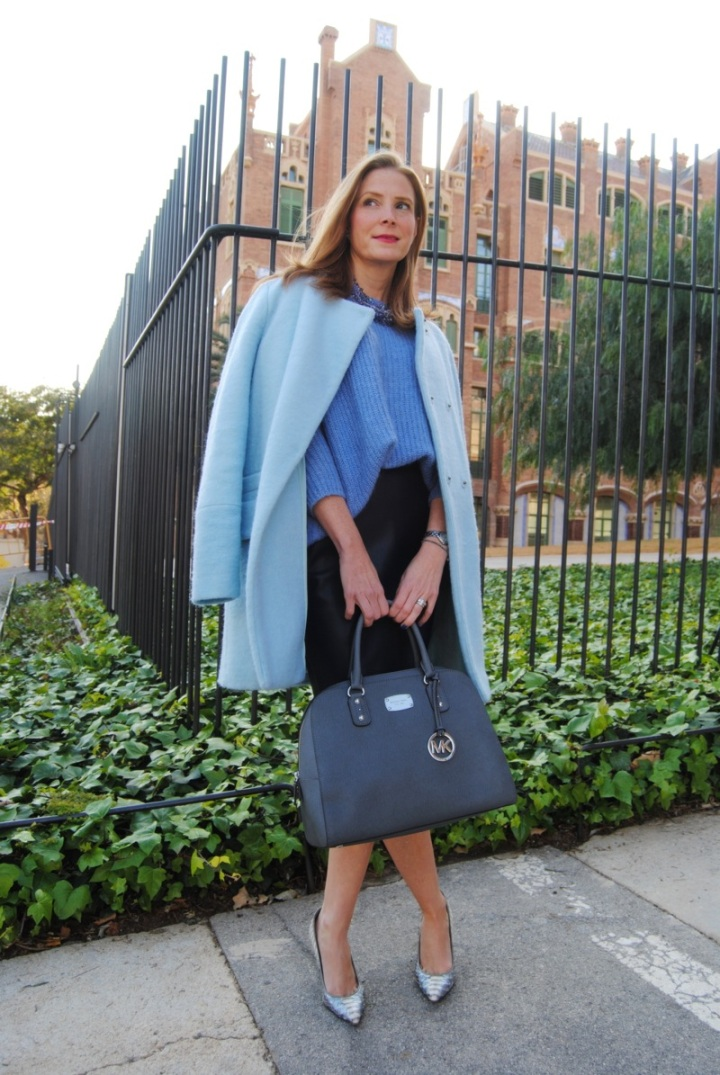 Baby blue coat look