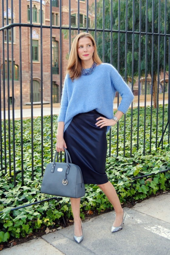 Blue sweater and pencil skirt