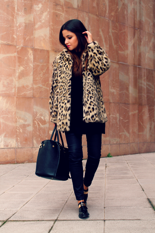Leopard fur coat look