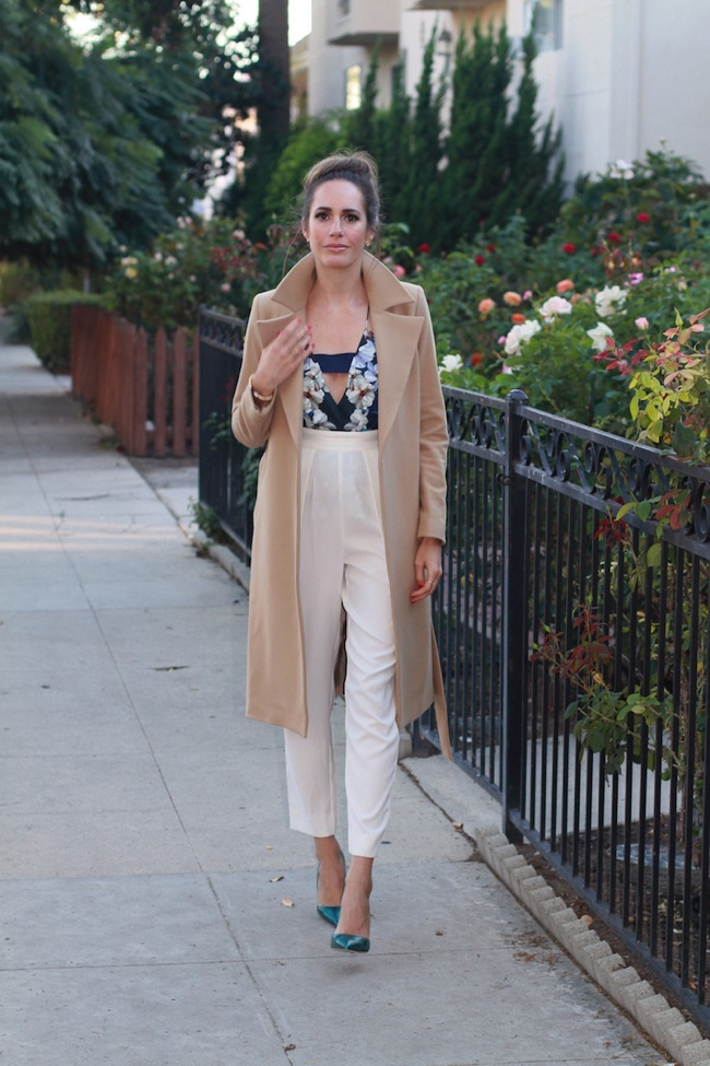 Party look and camel coat