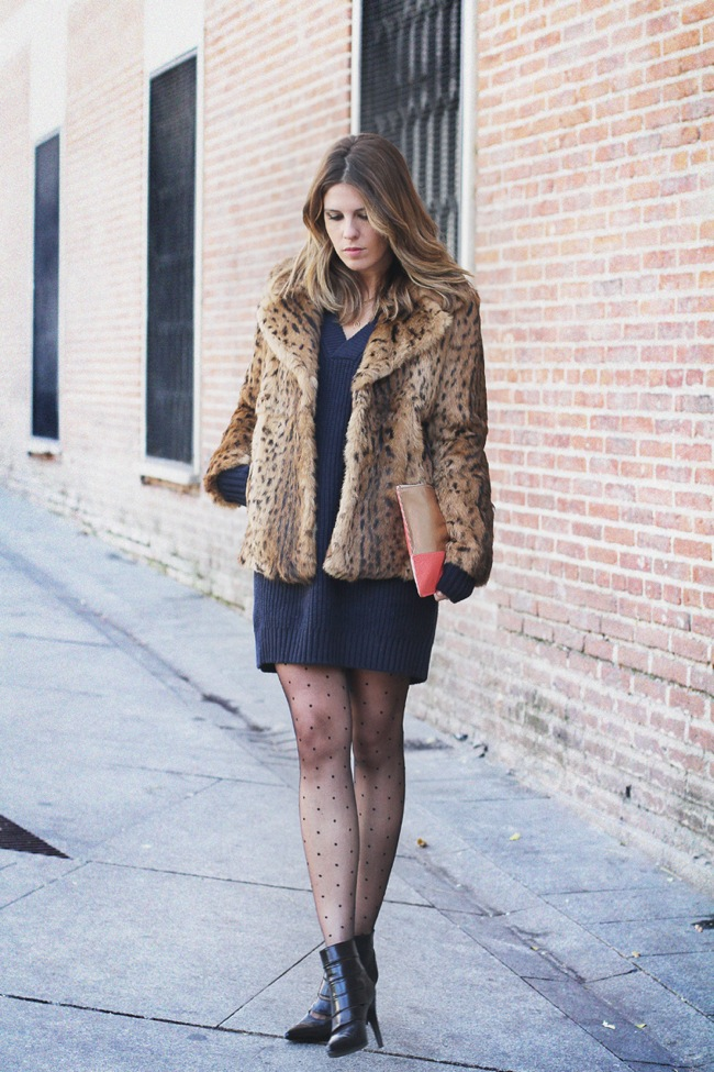 Leoaprd fur coat and black dress